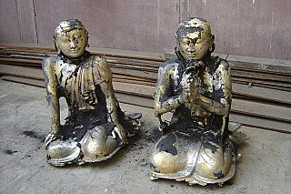 Two bronze monk statues