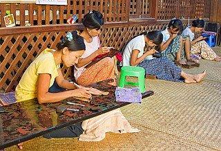 Ladies at lacquerware workshop