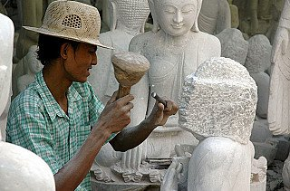 Marble Buddha statue carving
