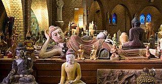 Buddha statues in our Buddha store in Deventer