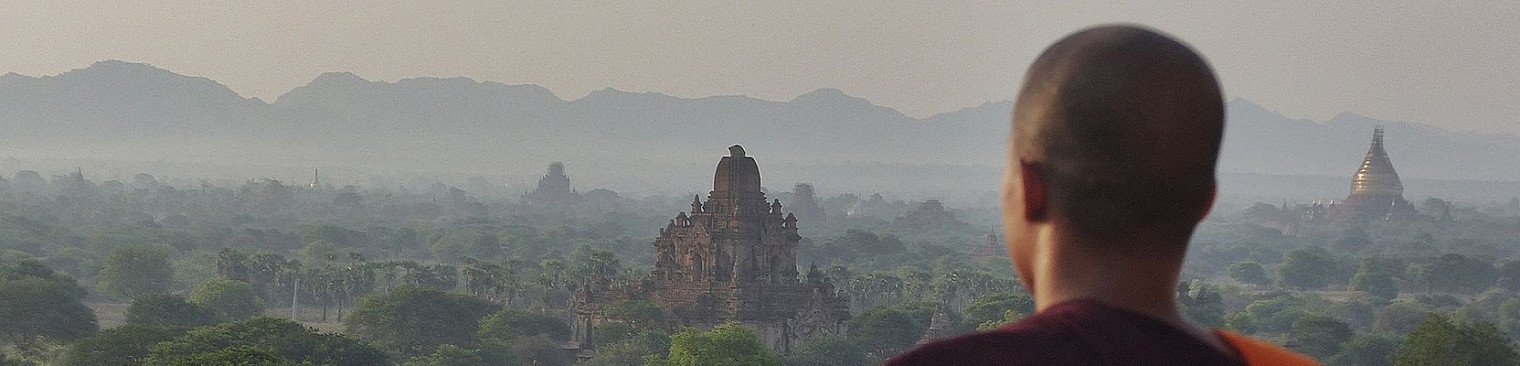 Monk looking over Bagan temples