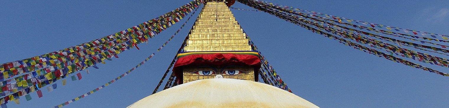 Gebete Fahnen in Nepal Stupa-Bouddhanath