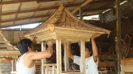 Wooden temple houses from Indonesia