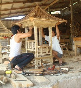 Carving temple house Indonesia