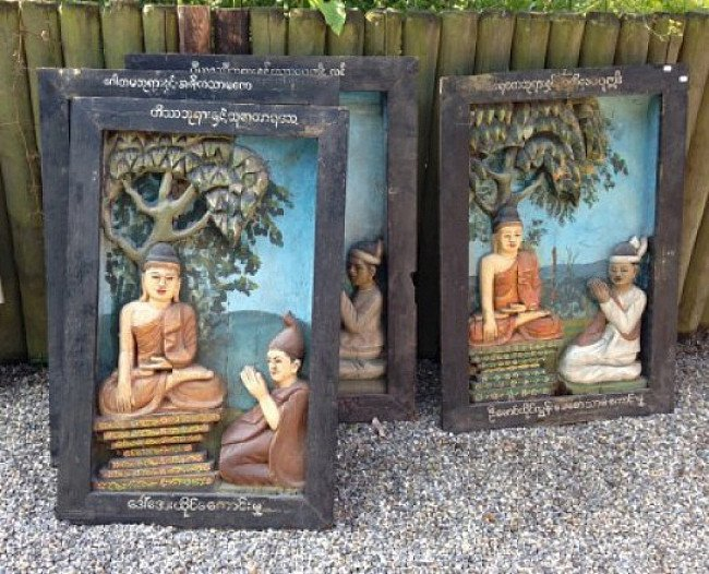 28 wooden panels from a monastery in Burma