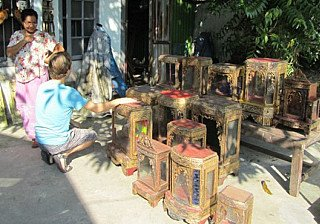 We bought many antique house shrines and temples