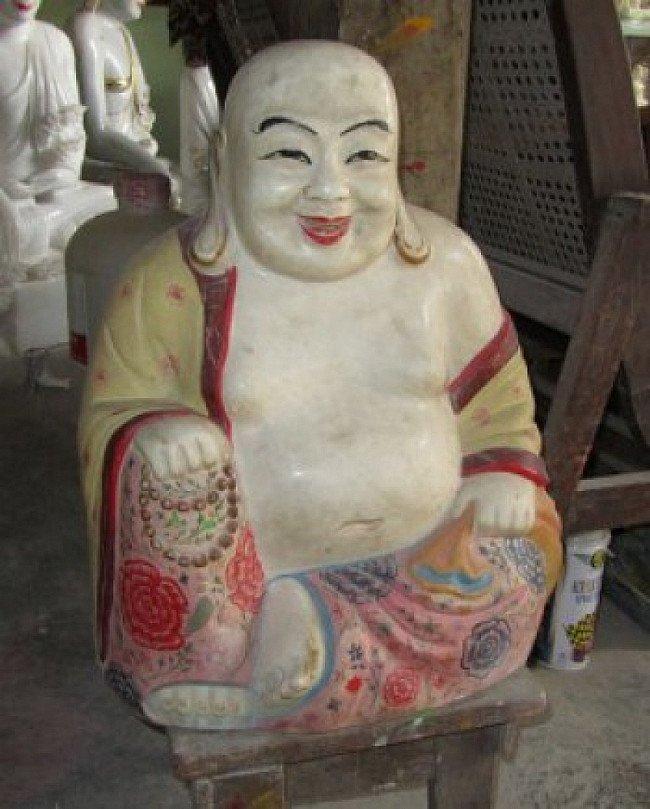 Marble happy Buddha statue
