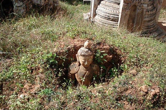Buddha image in the ground