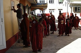 Monks at a monastry near the Inle lake in the Shan state.