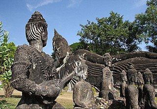 Reclining Buddha at Buddha Park of Vientiane, Laos