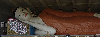 Third longest reclining Buddha statue at Thai Buddhist Temple, Malaysia