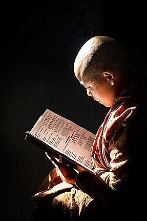monk reading scriptures