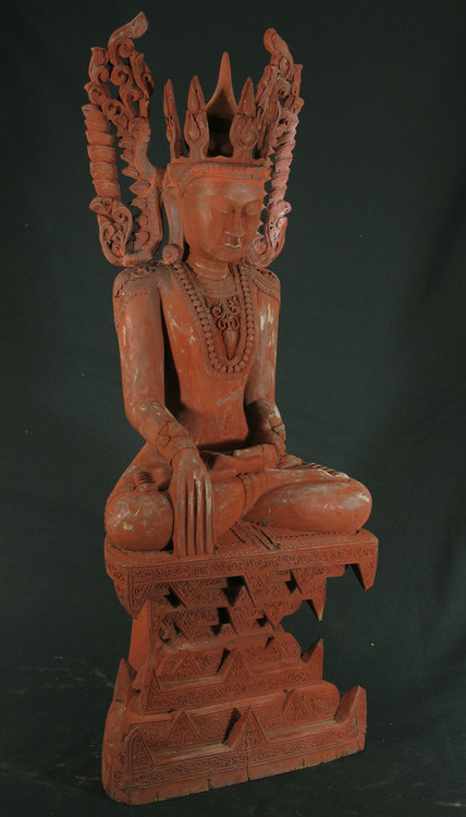 Old sitting Buddha from Burma made from lacquer
