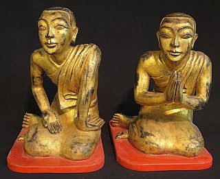 Set of antique monk statues
