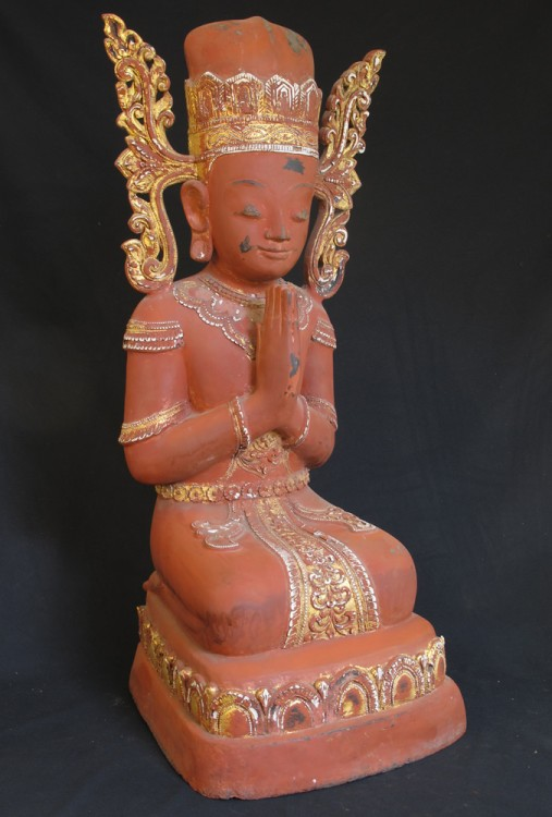 Antique crowned monk statue from Burma