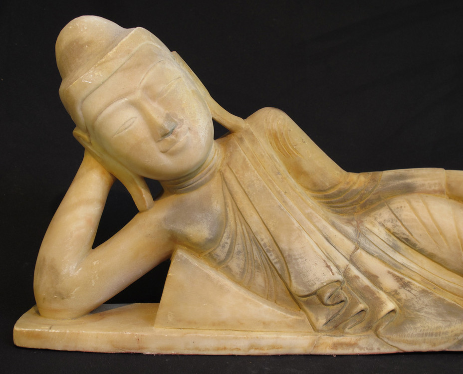 Antique reclining Buddha from Burma made from Marble