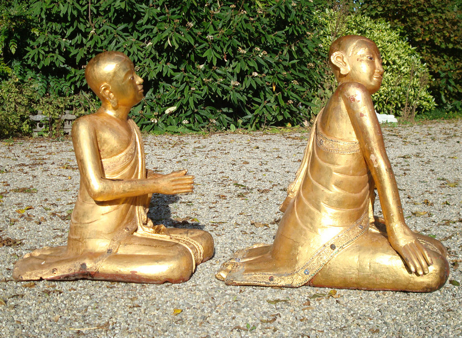 Old pair of monks from Burma made from Wood