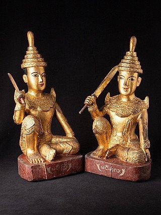 Pair antique Burmese Nat statues