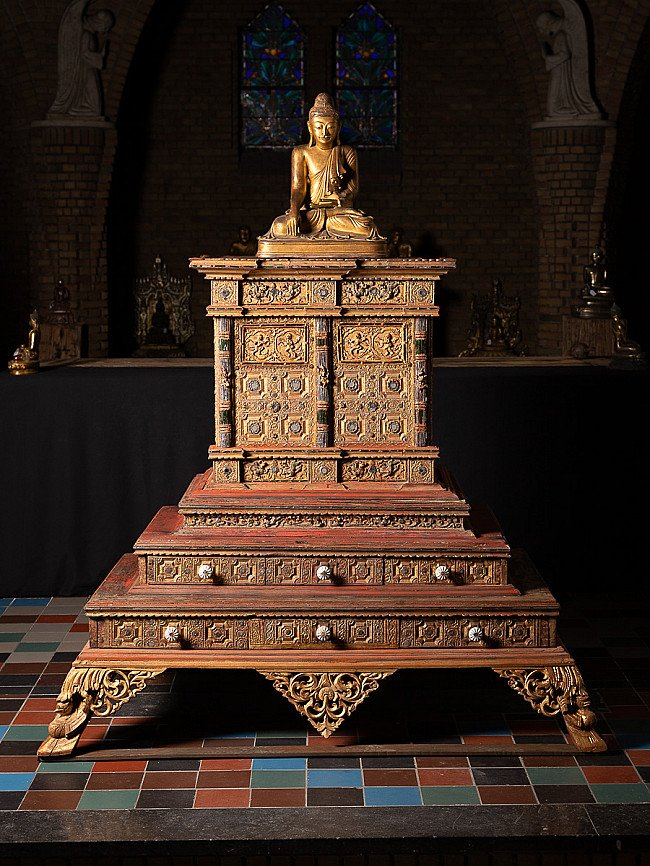 Large Antique Temple Cabinet - Throne
