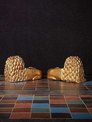 Pair of antique wooden lions