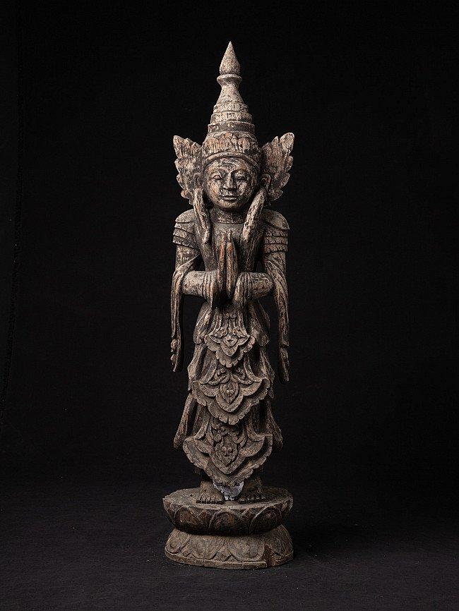 Alte Birmanische Nat Figur aus Holz
