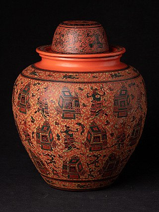 Newly made Burmese lacquerware vessel