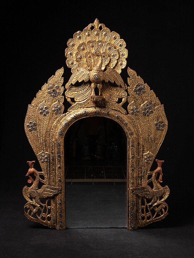 Antique wooden temple panel with mirror