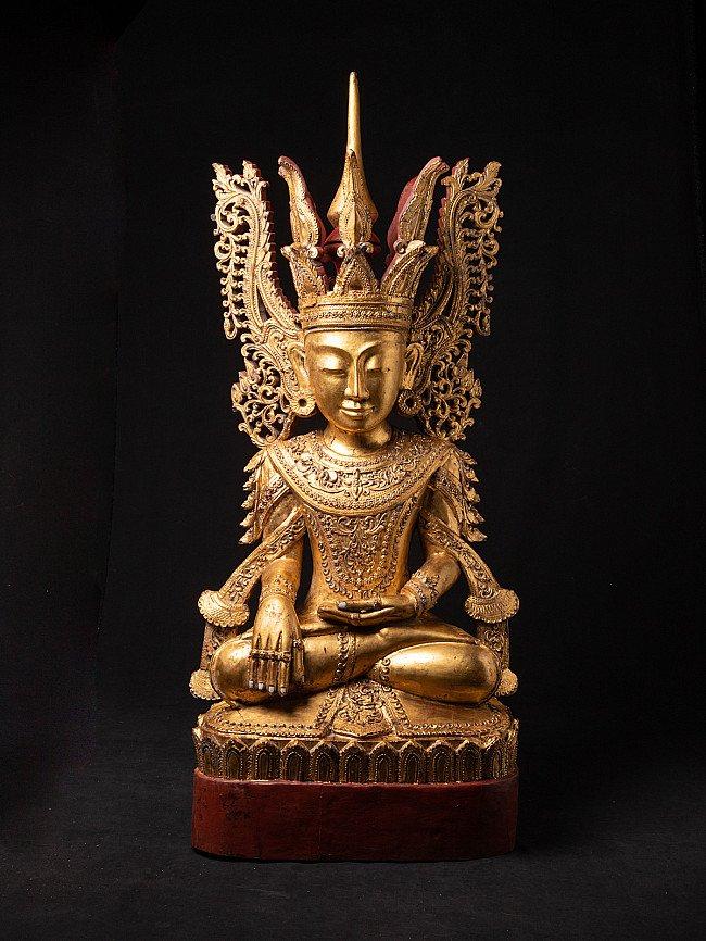 Large Burmese crowned Buddha statue