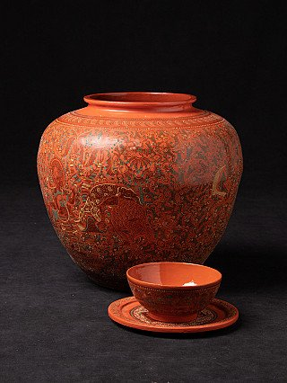 Newly made Burmese lacquerware bowl