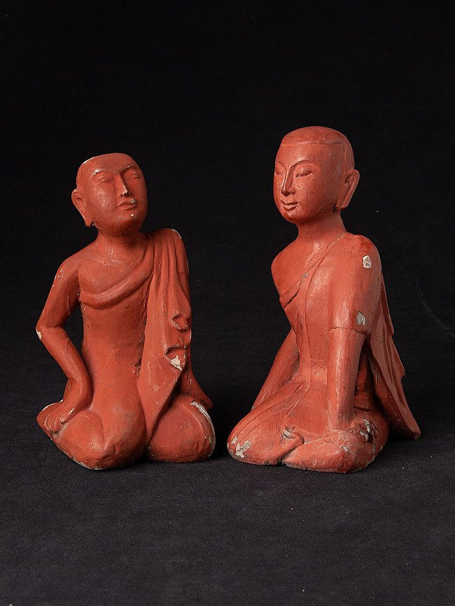 Pair old wooden monk statues