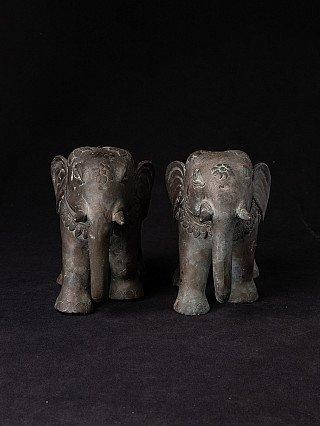 Pair of old bronze elephants