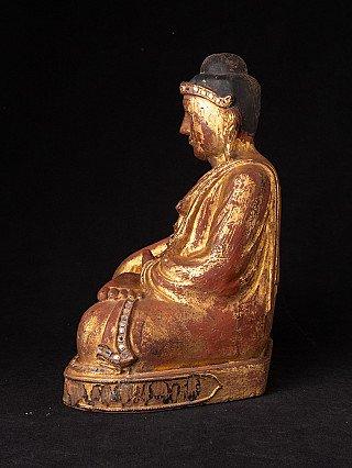 Antique wooden Burmese Mandalay Buddha statue