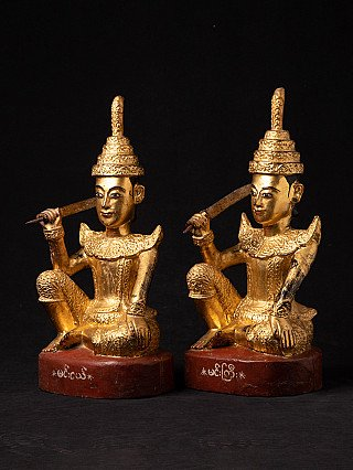Pair of antique Burmese Nat statues