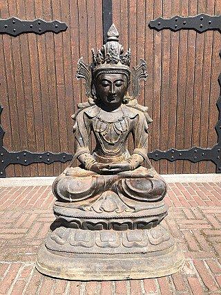 Groot oud bronzen Arakan Boeddhabeeld