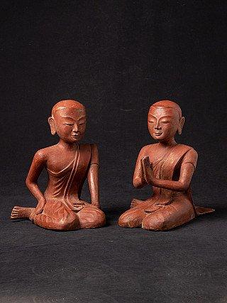 Pair of old Burmese monk statues