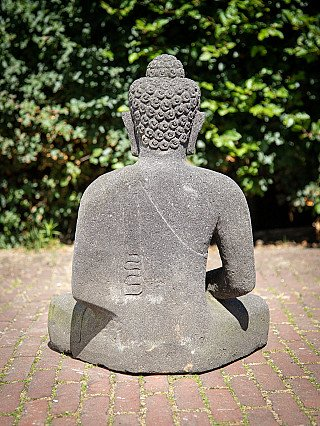Hand carved lavastone Buddha statue