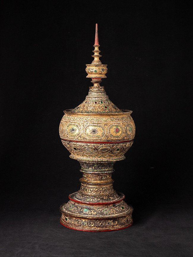 Antique Burmese lacquerware offering vessel