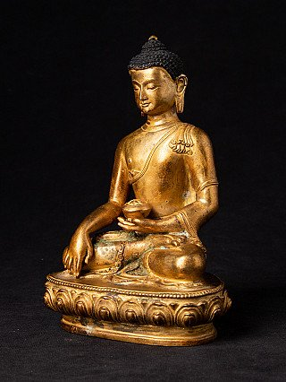 Detailed Nepali bronze Buddha statue