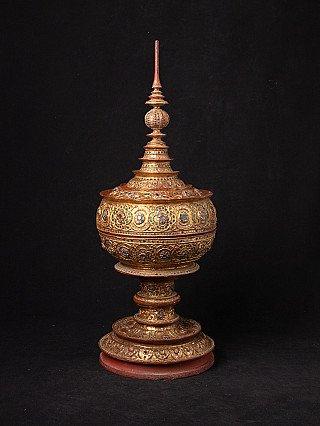 Antique Burmese gilded offering vessel