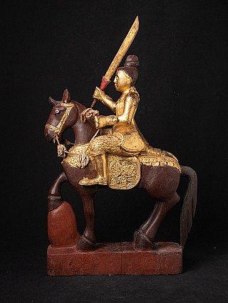 Antieke Birmese Nat op paard