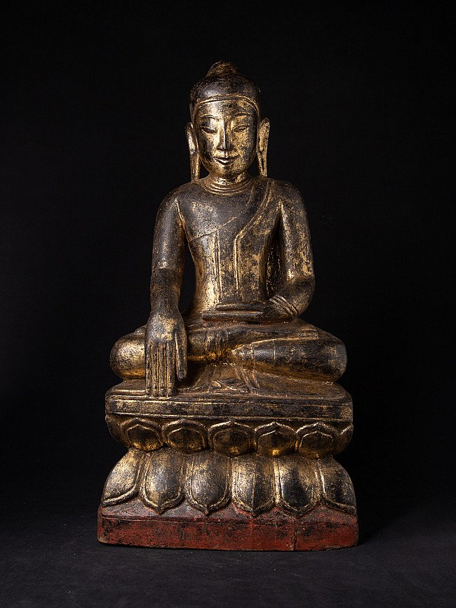Antike holzerne Shan Buddha Figur