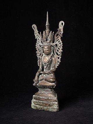 Bijzondere antieke Birmese gekroonde Boeddha