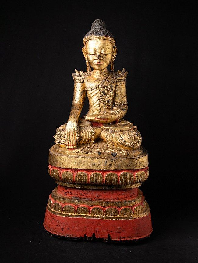 Groot antiek houten Shan Boeddhabeeld