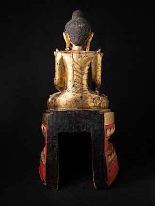 Large antique wooden Shan Buddha statue
