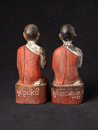 Antique pair of Burmese monk statues