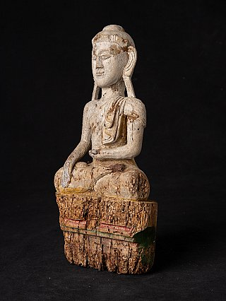 Antique Burmese wooden Buddha statue