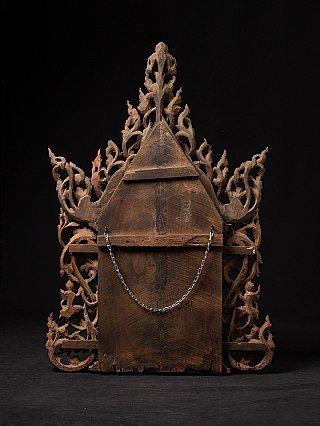 Antique wooden Burmese temple panel