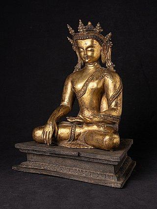 Alte bronze gekrönte Nepal Buddha Figur