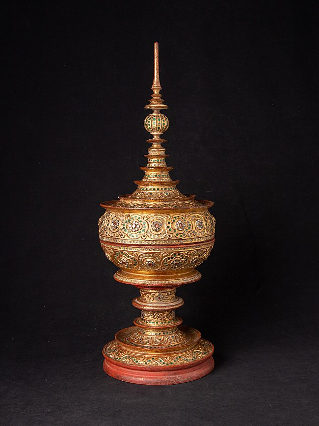 Antique Burmese gilded offering vessel