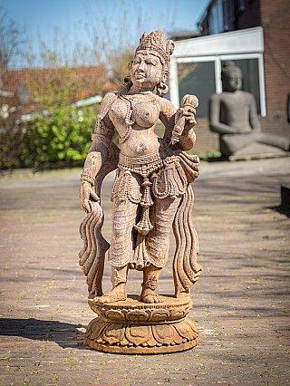 Old sandstone Apsara lady statue